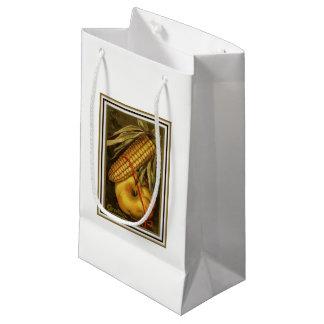 Vintage Corn and Pumpkin Thanksgiving Small Gift Bag
