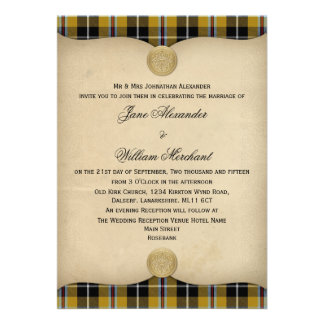 Vintage Cornish National Tartan Plaid Wedding Personalized Announcements