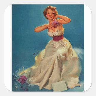 Vintage Corsage Prom Gil Elvgren Pinup Girl Square Sticker