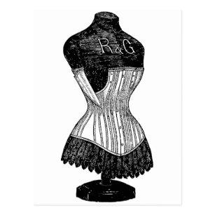 vintage corset postcards  zazzle uk