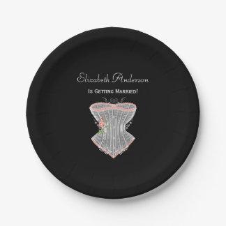 Vintage Corset Personal Lingerie Bridal Shower Paper Plate