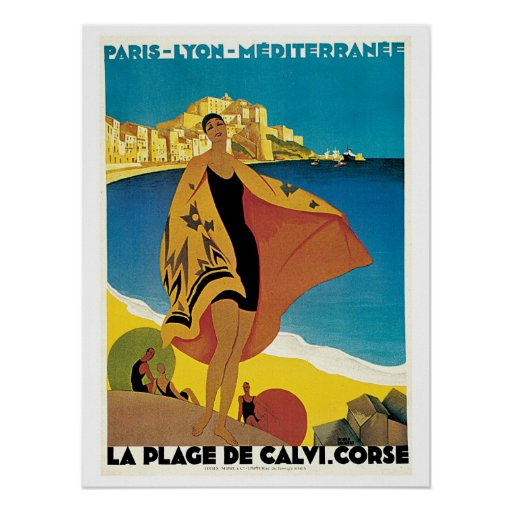 Vintage Corsica by Train Travel Ad Posters