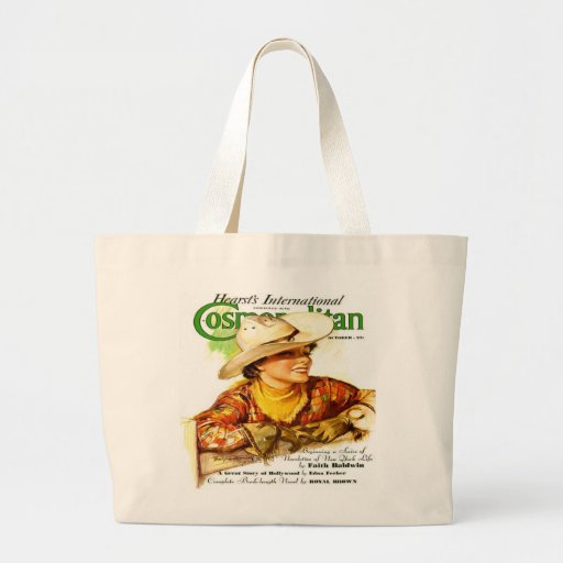 Vintage Cosmopolitan Magazine Cover (Cowgirl) Tote Bags