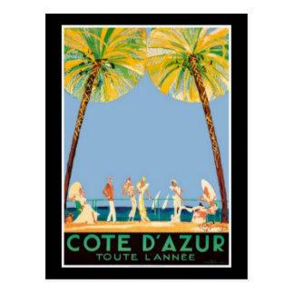 Vintage Cote D'Azur Travel Postcard