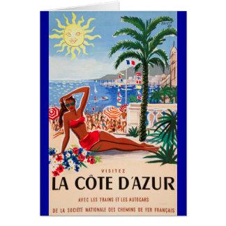 Vintage Cote D'Azur Beach Girl Greeting Cards