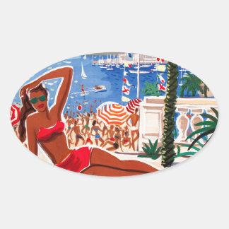 Vintage Cote D'Azur Beach Girl Oval Sticker