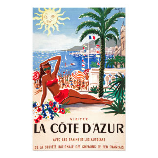 Vintage Cote D'Azur Beach Girl Personalised Stationery