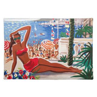 Vintage Cote D'Azur Beach Girl Placemat