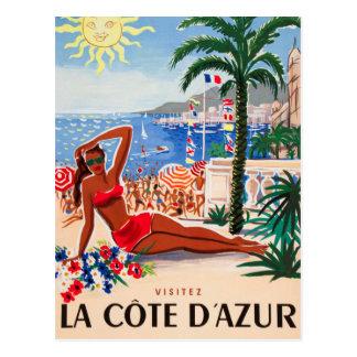 Vintage Cote D'Azur Beach Girl Postcard