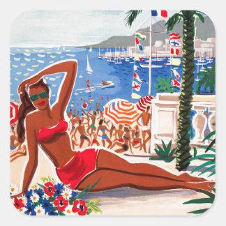 Vintage Cote D'Azur Beach Girl Square Sticker