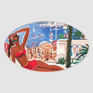 Vintage Cote D'Azur Beach Girl Stickers