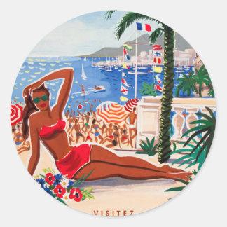 Vintage Cote D'Azur Beach Girl Round Sticker