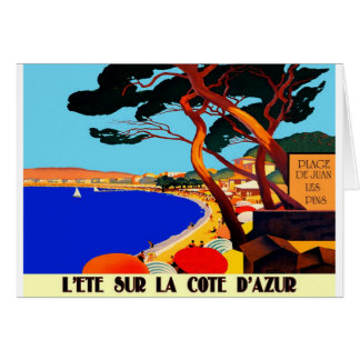 Vintage Cote D'Azur French Travel Greeting Card
