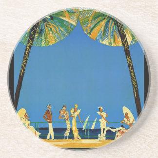 Vintage Cote D'Azur French Travel Drink Coaster