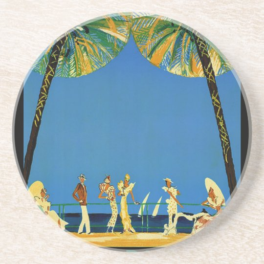 Vintage Cote D'Azur French Travel Drink Coaster