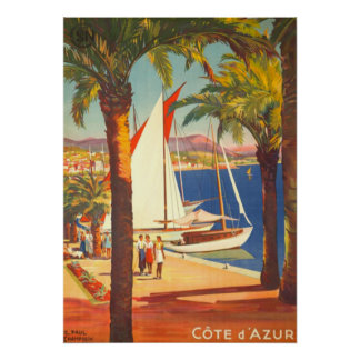 Vintage Cote D'Azur French Travel Poster