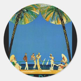Vintage Cote D'Azur French Travel Round Sticker