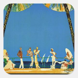 Vintage Cote D'Azur French Travel Square Sticker