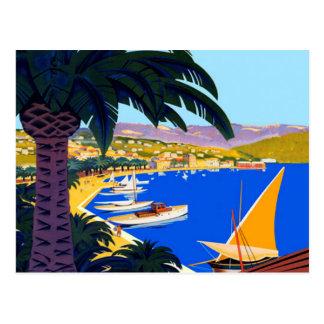 Vintage Cote D'Azur Illustration Travel Postcard