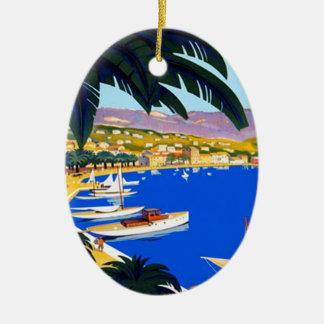 Vintage Cote D'Azur Travel Christmas Ornament