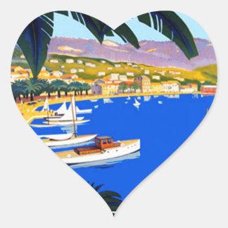 Vintage Cote D'Azur Travel Heart Sticker
