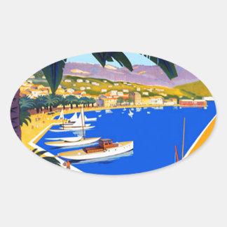 Vintage Cote D'Azur Travel Oval Sticker