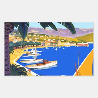 Vintage Cote D'Azur Travel Rectangular Sticker