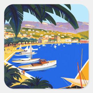 Vintage Cote D'Azur Travel Square Sticker