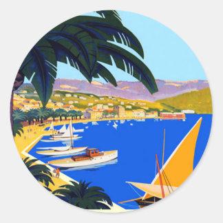 Vintage Cote D'Azur Travel Round Sticker