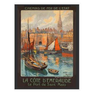 Vintage Cote d'Emeraude Saint Malo Port Tourism Postcard