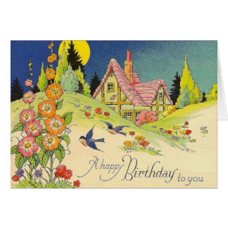 Vintage Cottage Birthday Greeting Card