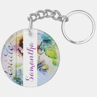 Vintage cottage pansy flower PERSONALIZE Double-Sided Round Acrylic Keychain