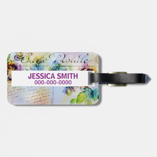 Vintage cottage pansy flower PERSONALIZE name Bag Tag