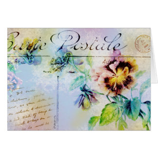 Vintage cottage pansy flower postcard greeting card
