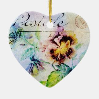 Vintage cottage pansy flower postcard christmas ornaments