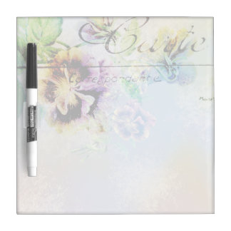 Vintage cottage pansy flower postcard dry erase board