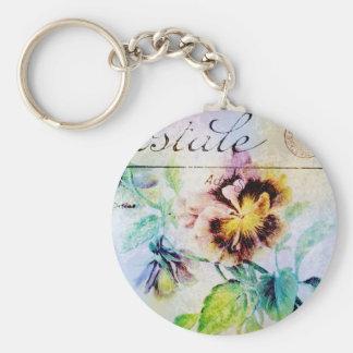 Vintage cottage pansy flower postcard keychain