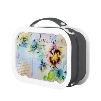 Vintage cottage pansy flower postcard yubo lunch boxes
