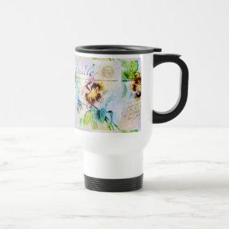 Vintage cottage pansy flower postcard coffee mugs
