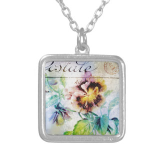 Vintage cottage pansy flower postcard custom jewelry
