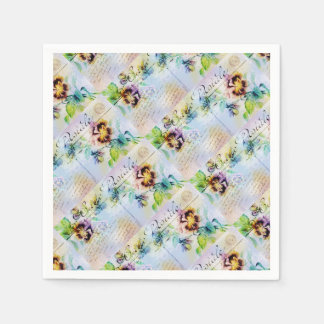 Vintage cottage pansy flower postcard paper napkins