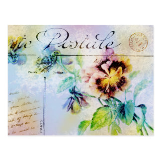 Vintage cottage pansy flower postcard PERSONALIZE