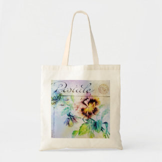 Vintage cottage pansy flower postcard PERSONALIZE Bag