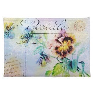 Vintage cottage pansy flower postcard cloth place mat