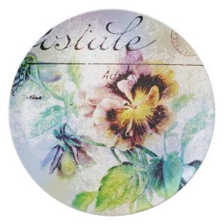 Vintage cottage pansy flower postcard plates