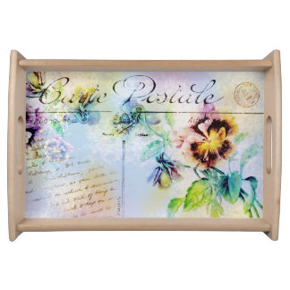 Vintage cottage pansy flower postcard food tray