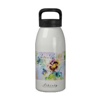 Vintage cottage pansy flower postcard drinking bottles