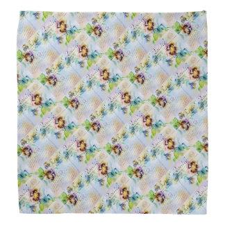 Vintage cottage pansy flower postcard kerchiefs