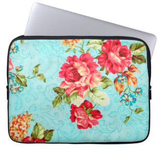 Vintage Cottage Red Rose Floral Laptop Sleeve