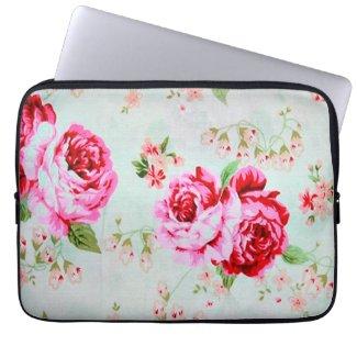 Vintage Cottage Rose Floral Floral Laptop Sleeve